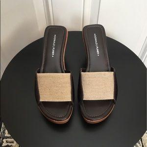 Donald J. Pliner Brown/Tan Slip On Wedge Sandals